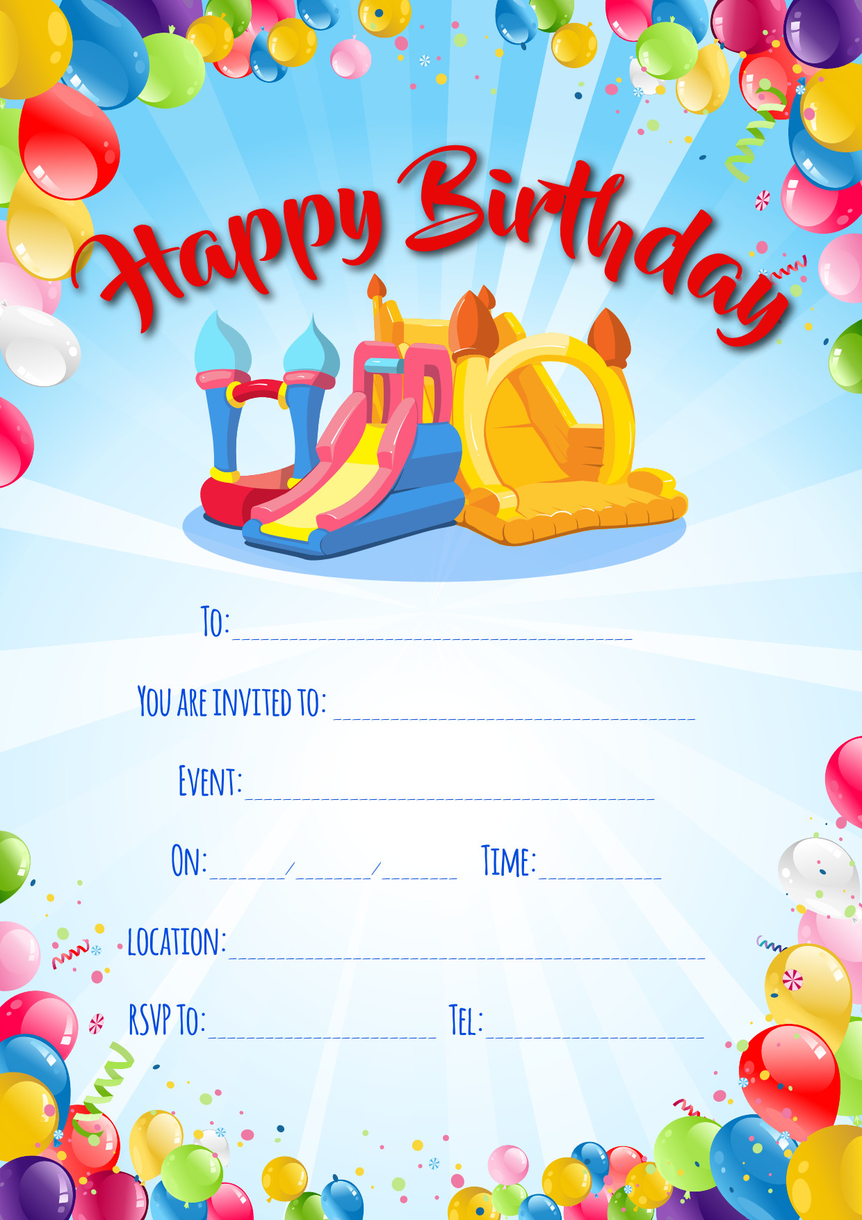 download party invitations ice cream van bouncy castle hire in
